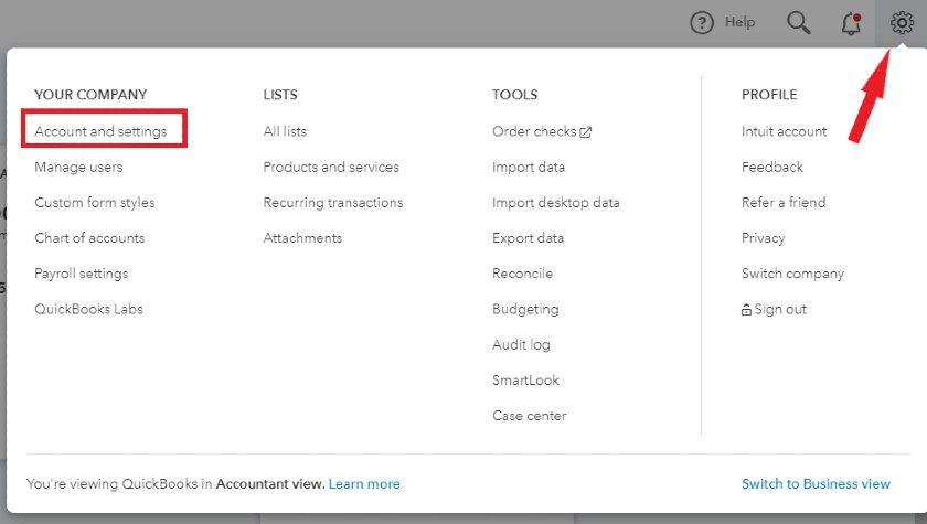 Account and settings in QuickBooks Online