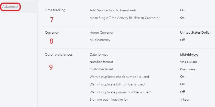 Advanced settings in QuickBooks Online