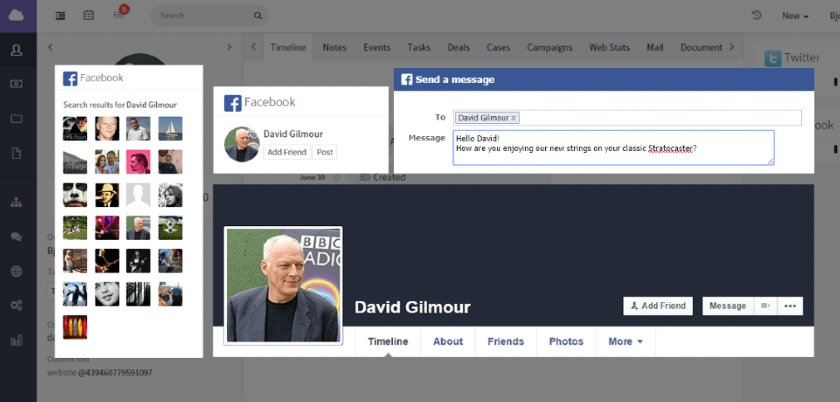 Screenshot of Agile CRM Integration with Facebook page of David Gilmour