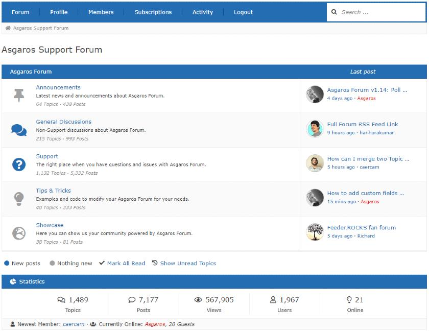 Screenshot of Asgaros Forum Interface