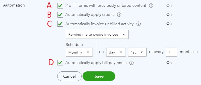 Automation settings in QuickBooks Online