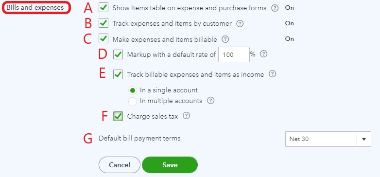 Bills and expenses settings in QuickBooks Online
