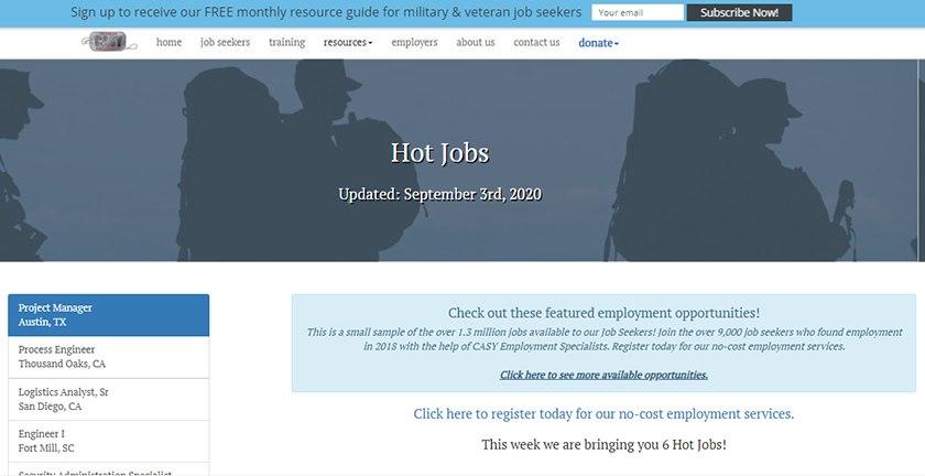 Screenshot of CASY Job Portal