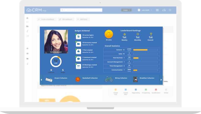 CRM.me gamification features
