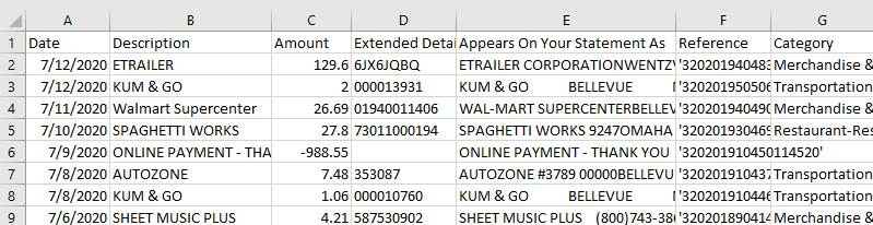 CSV file for import into QuickBooks Online