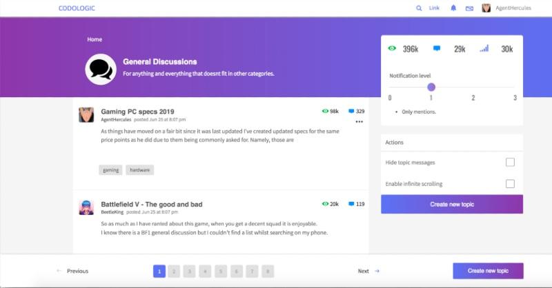 Codoforum Software Forum Page Sample