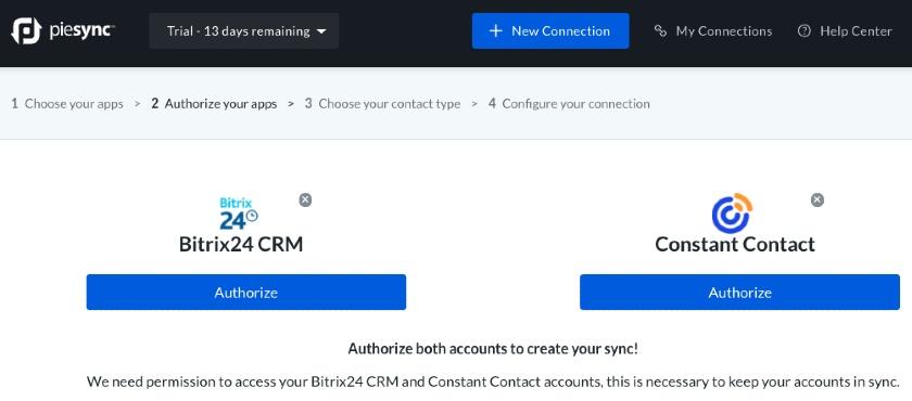Authorize Bitrix24 CRM & Constant Contact accounts to create sync via PieSync