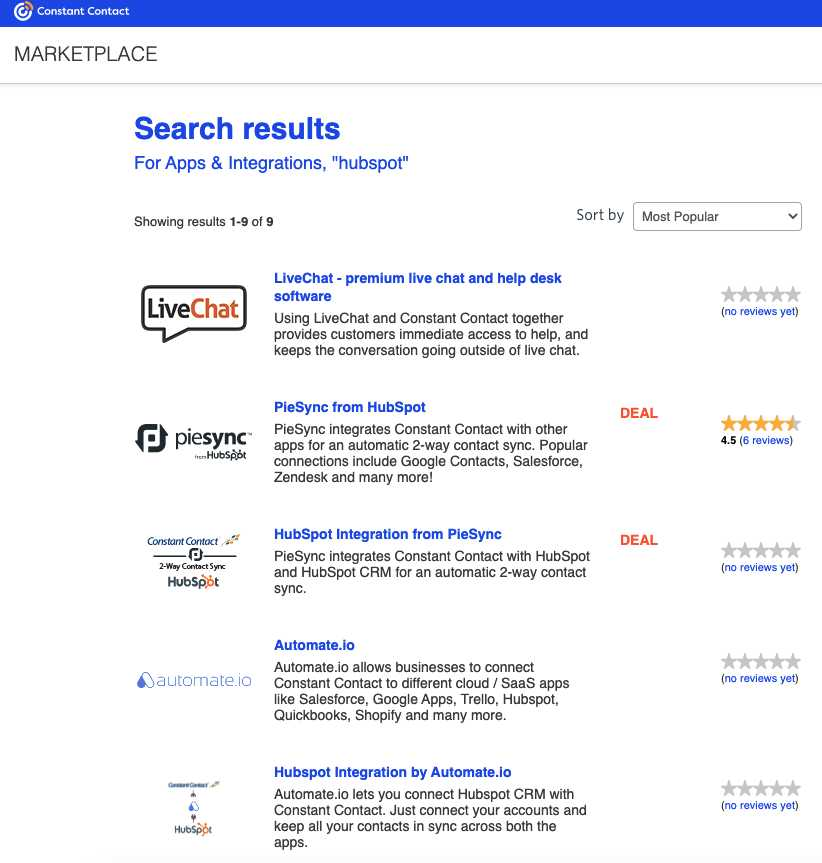 Constant Contact's marketplace search results