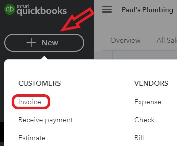 Create a new invoice in QuickBooks Online