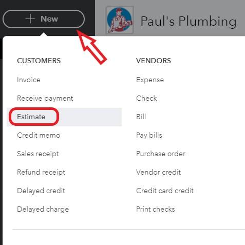 Create new estimate in QuickBooks Online