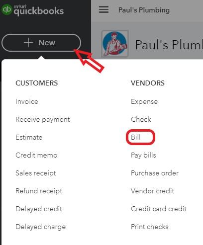 Create a new bill in QuickBooks Online
