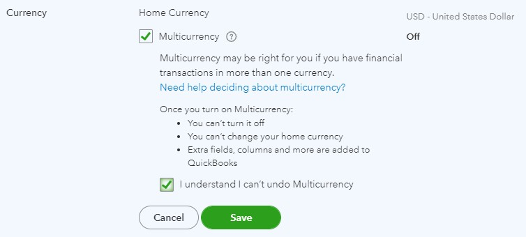 Currency options in QuickBooks Online