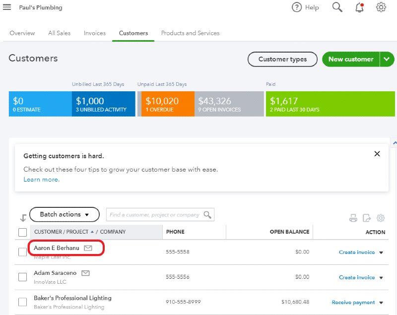 Display customer detail in QuickBooks Online