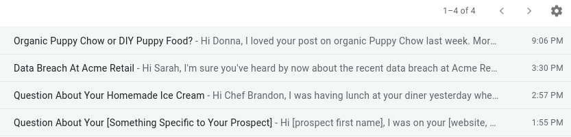 Email subject line and opening line example in inbox