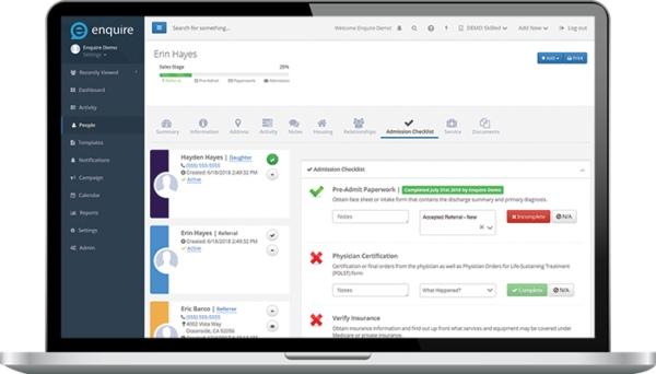 Enquire CRM Patient Management Dashboard