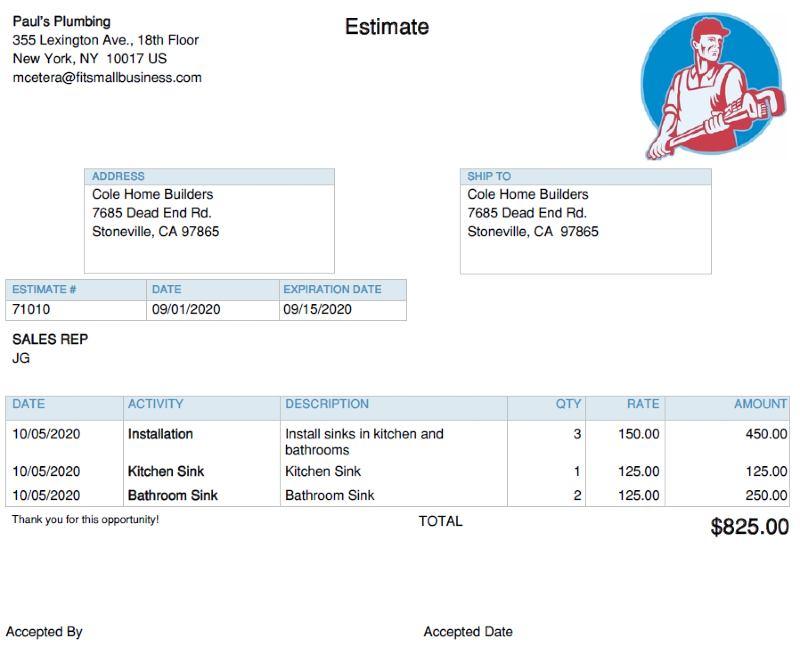 Example estimate in QuickBooks Online