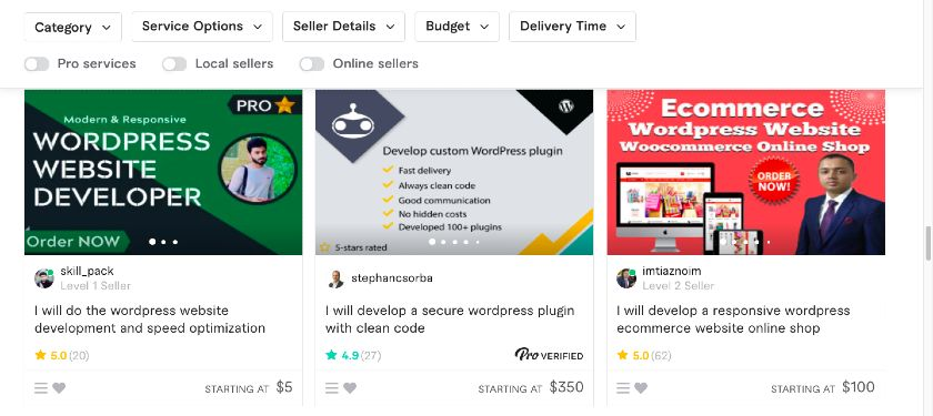 Example of Fiverr Gigs