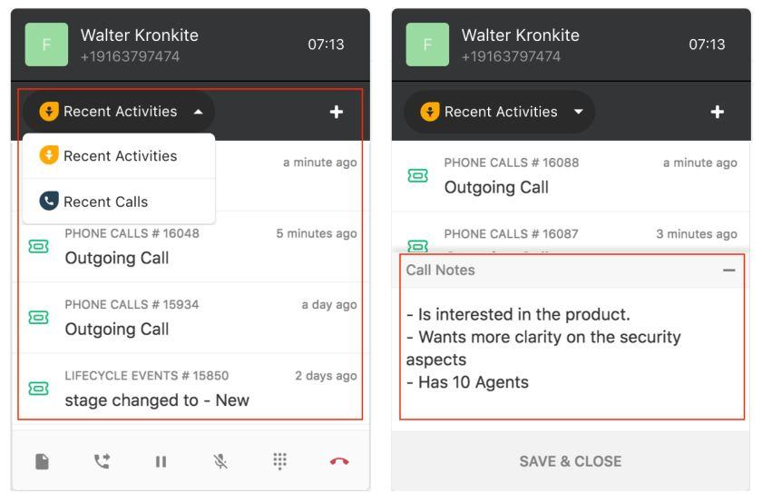 Freshcaller dialing widget recent calls