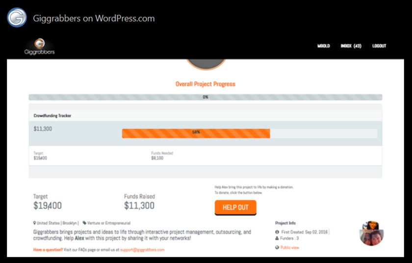 Screenshot of Giggrabbers Crowd Funding Tools