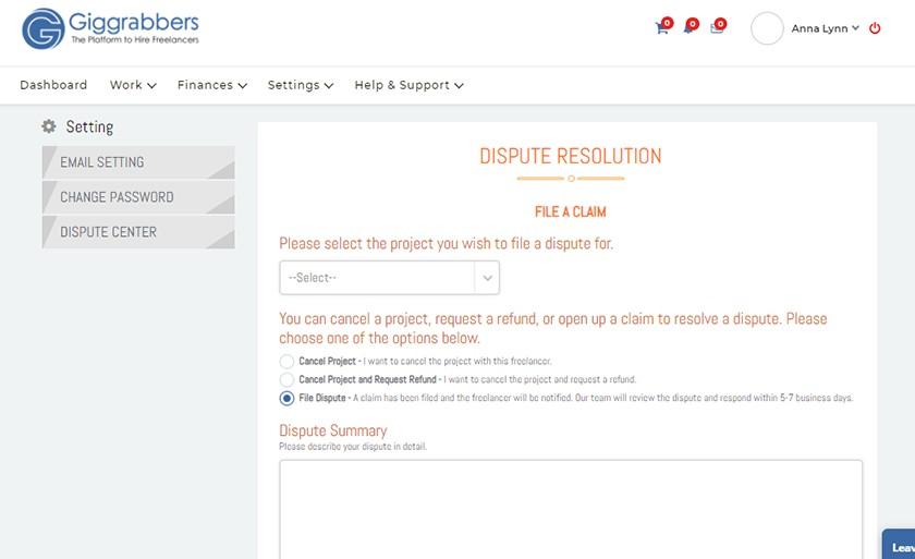 Screenshot of Giggrabbers Dispute Resolution Page