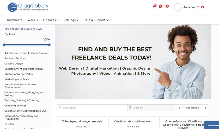 Screenshot of Giggrabbers Freelance Deals Search Page
