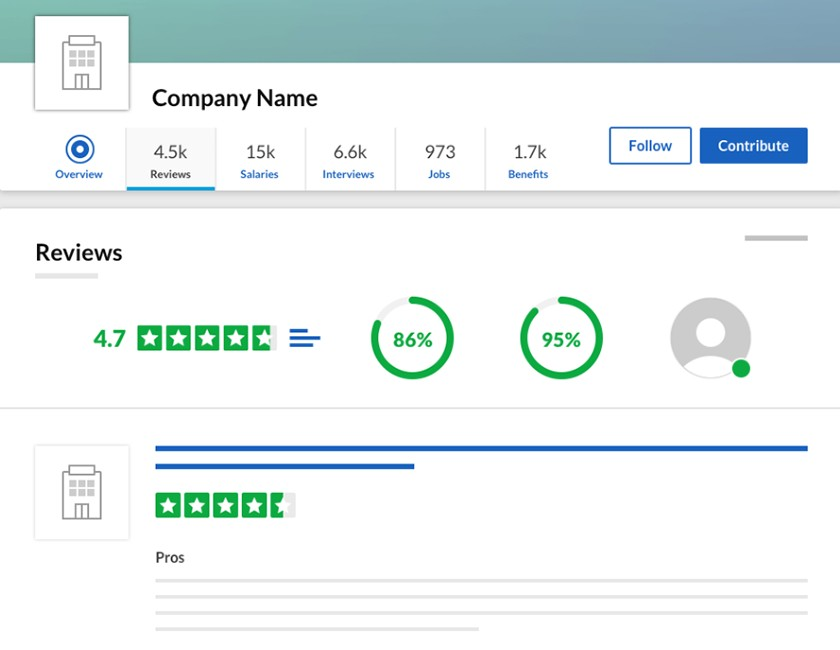 Screenshot of Glassdoor reviews tab