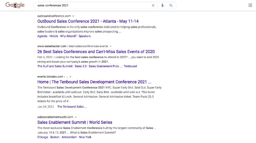 Google Search Results for sales conferences 2021
