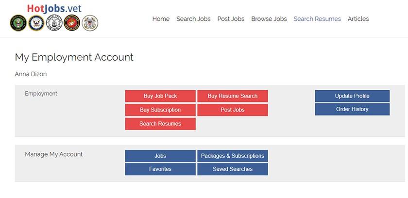 Screenshot of HotJobs.vet Employer Dashboard