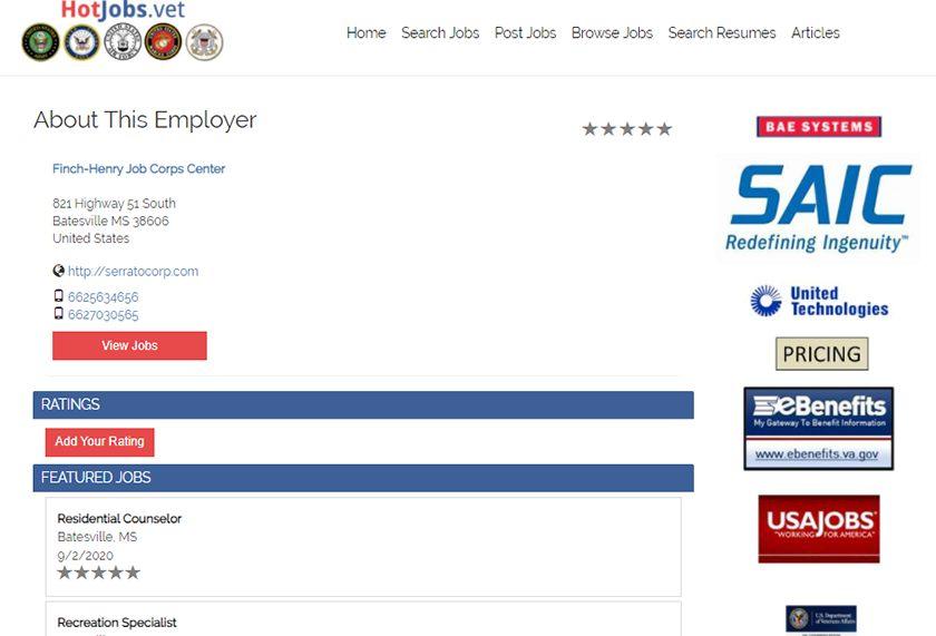 Screenshot of HotJobs.vet Employer Profile Page