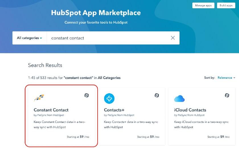 Screenshot HubSpot CRM's App Marketplace