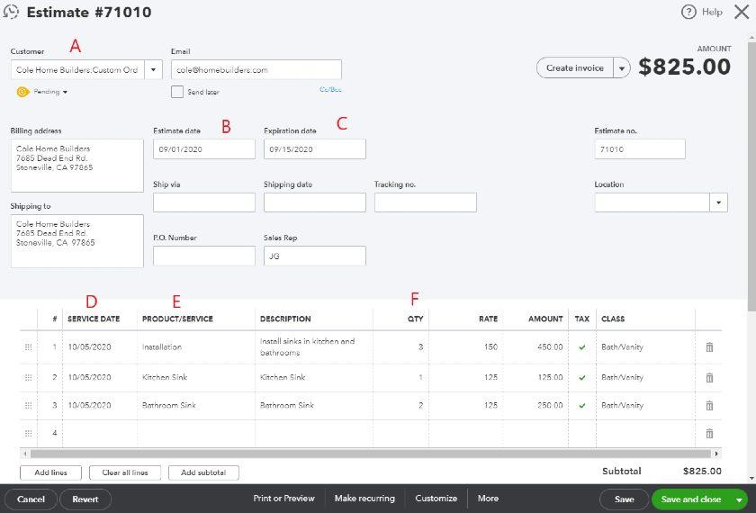 Input estimate in QuickBooks Online