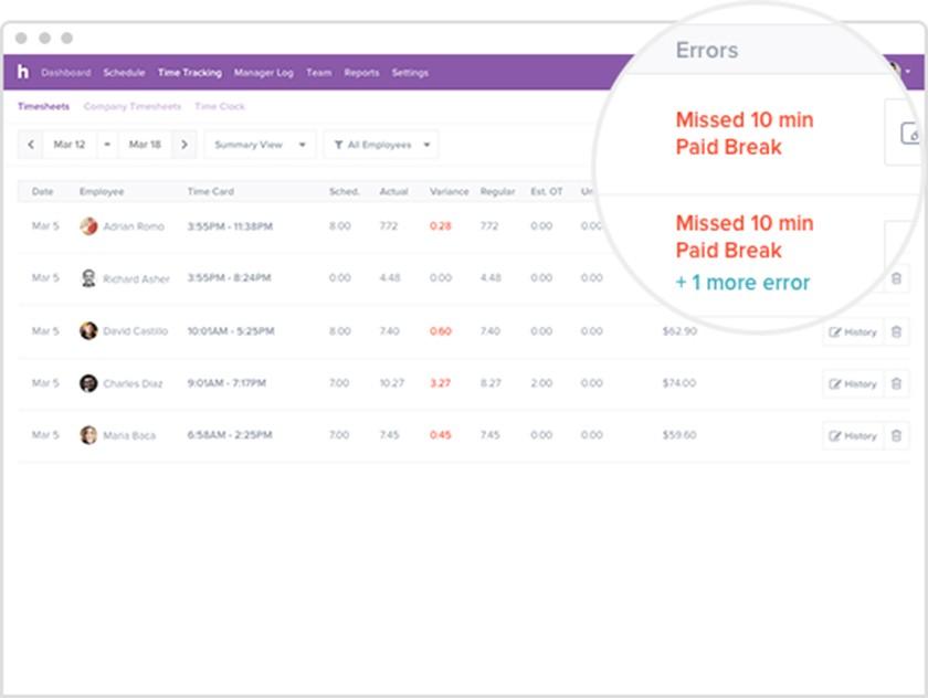 Screenshot of Homebase Time Tracking