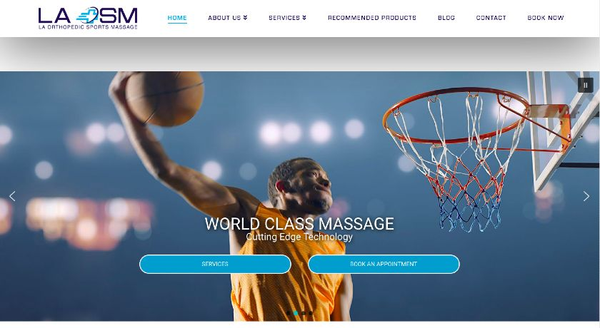 LA Orthopedic Sports Massage Website Screenshot