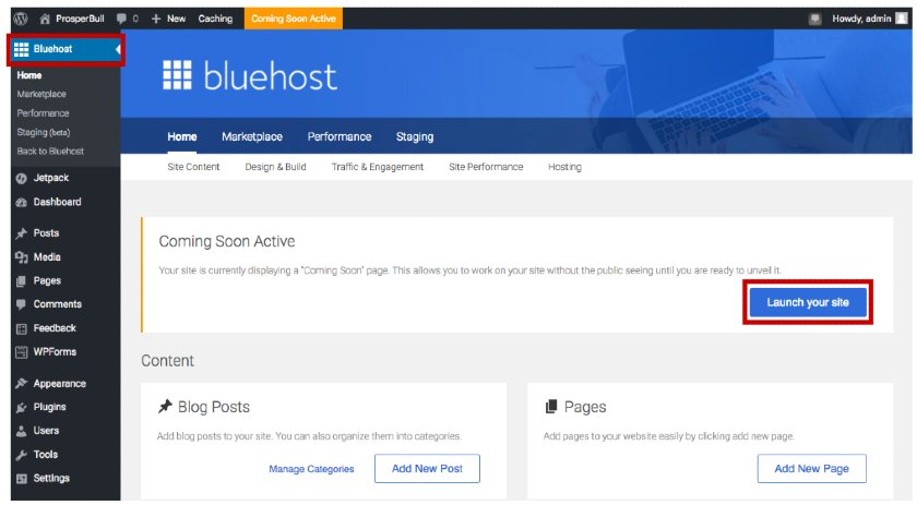 Screenshot of Launching WordPress Site with Bluehost