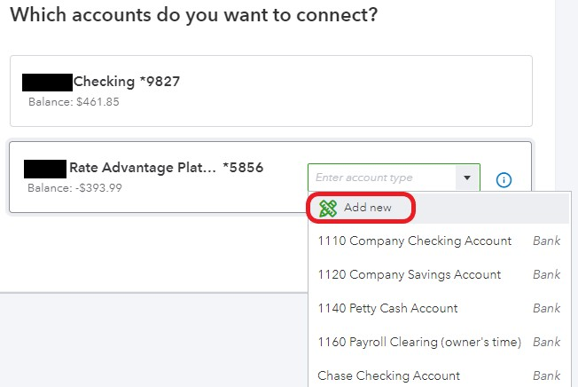 Selecting bank account(s) and link to Chart of Accounts
