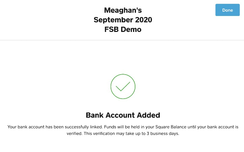 Screenshot Linking of Bank Account on Square