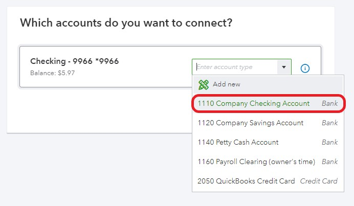 Select bank account and link to Chart of Accounts