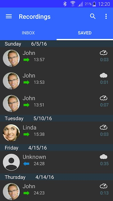 Screenshot of Recordings on Automatic Call Recorder