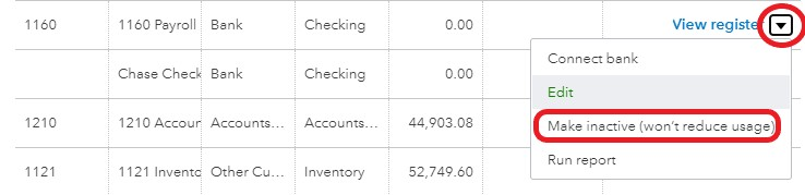 Making an account inactive in QuickBooks Online