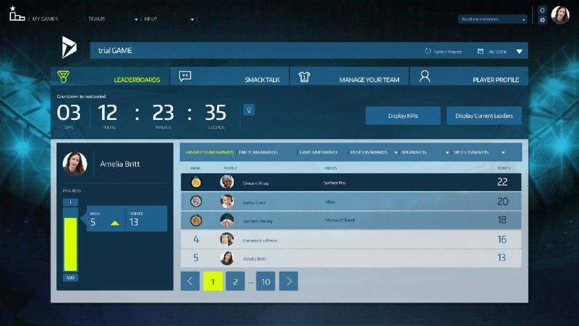 Microsoft Dynamics–Gamification leaderboard example
