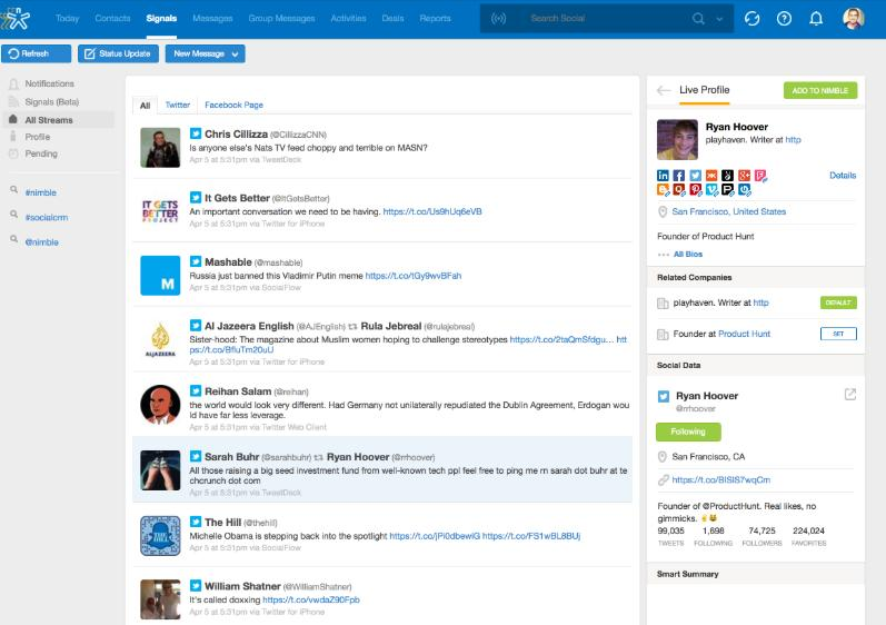 Screenshot of Nimble's social monitoring feed