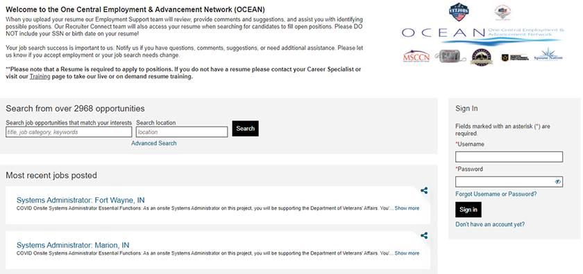 Screenshot of OCEAN Job Portal