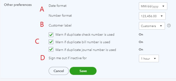 Other preferences in QuickBooks Online