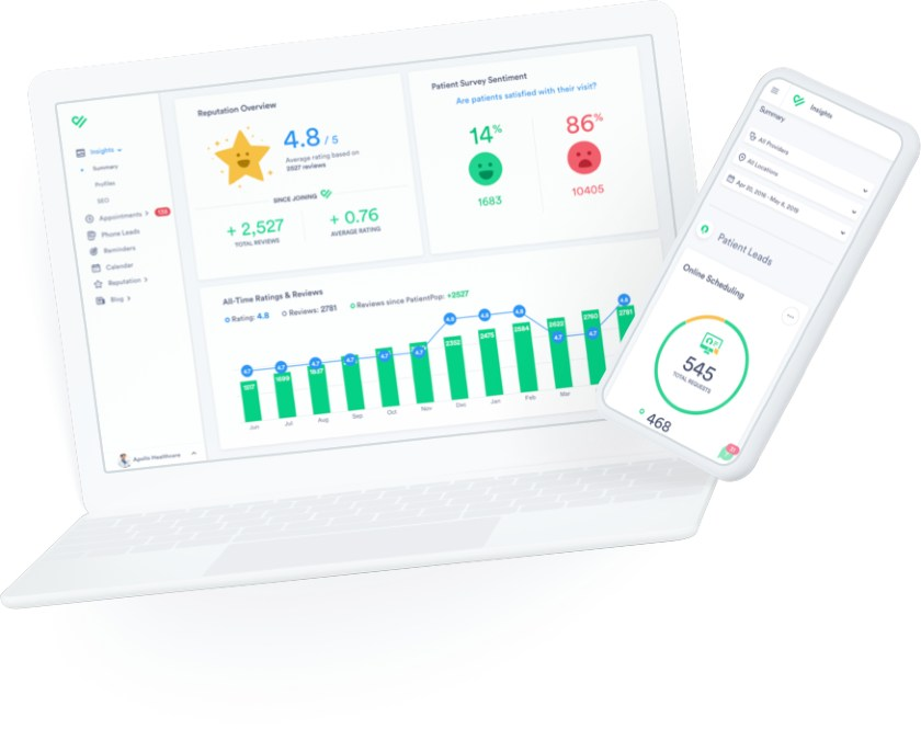 PatientPop desktop and mobile interface