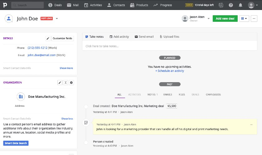 Pipedrive contact interface