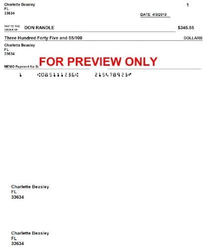 Screenshot Print of Check Preview