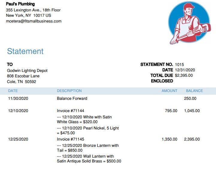 QuickBooks Customer Statement with Detailed Transaction Information