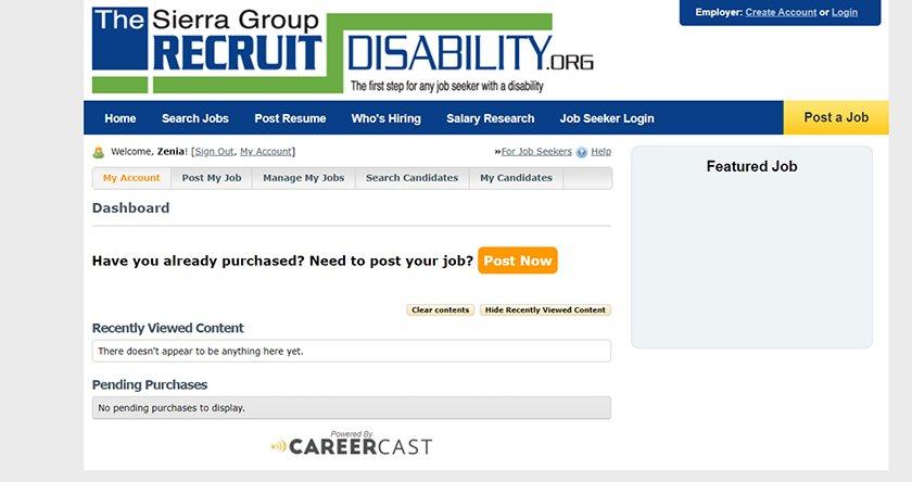 Screenshot of RecruitDisability employer dashboard