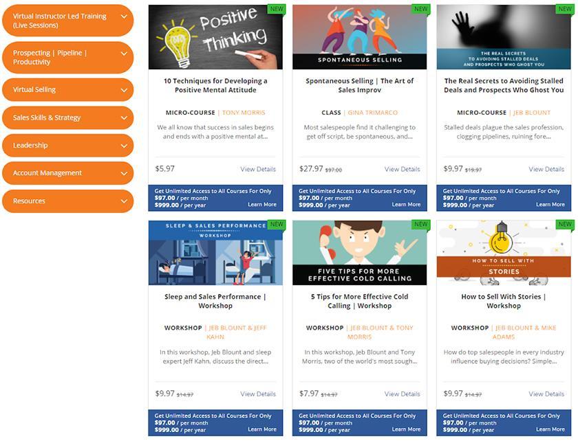 Screenshot of Sales Gravy University Training Courses