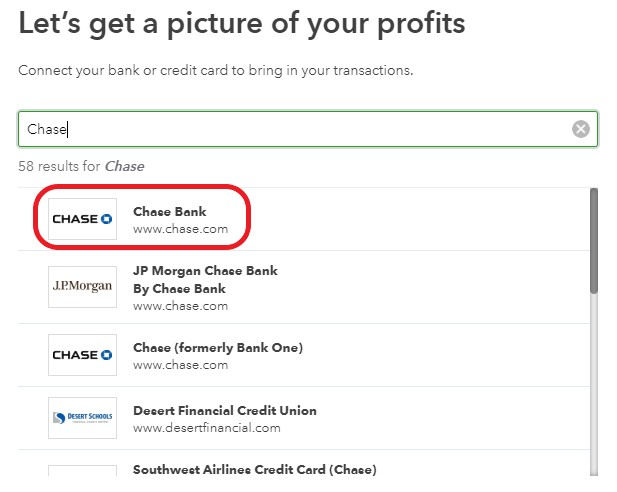 Search for your bank in QuickBooks Online
